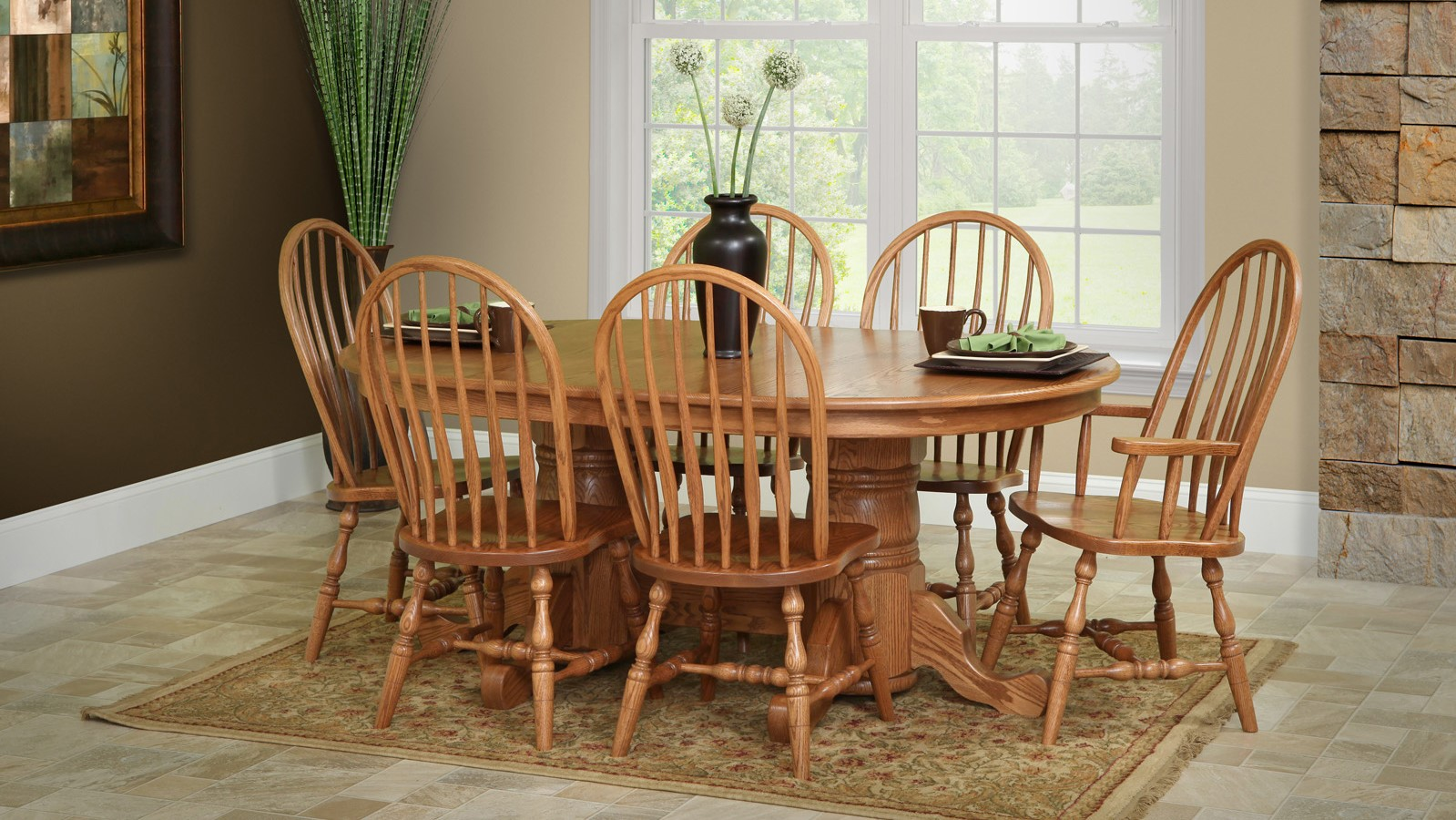 Dining room scene with wooden furniture