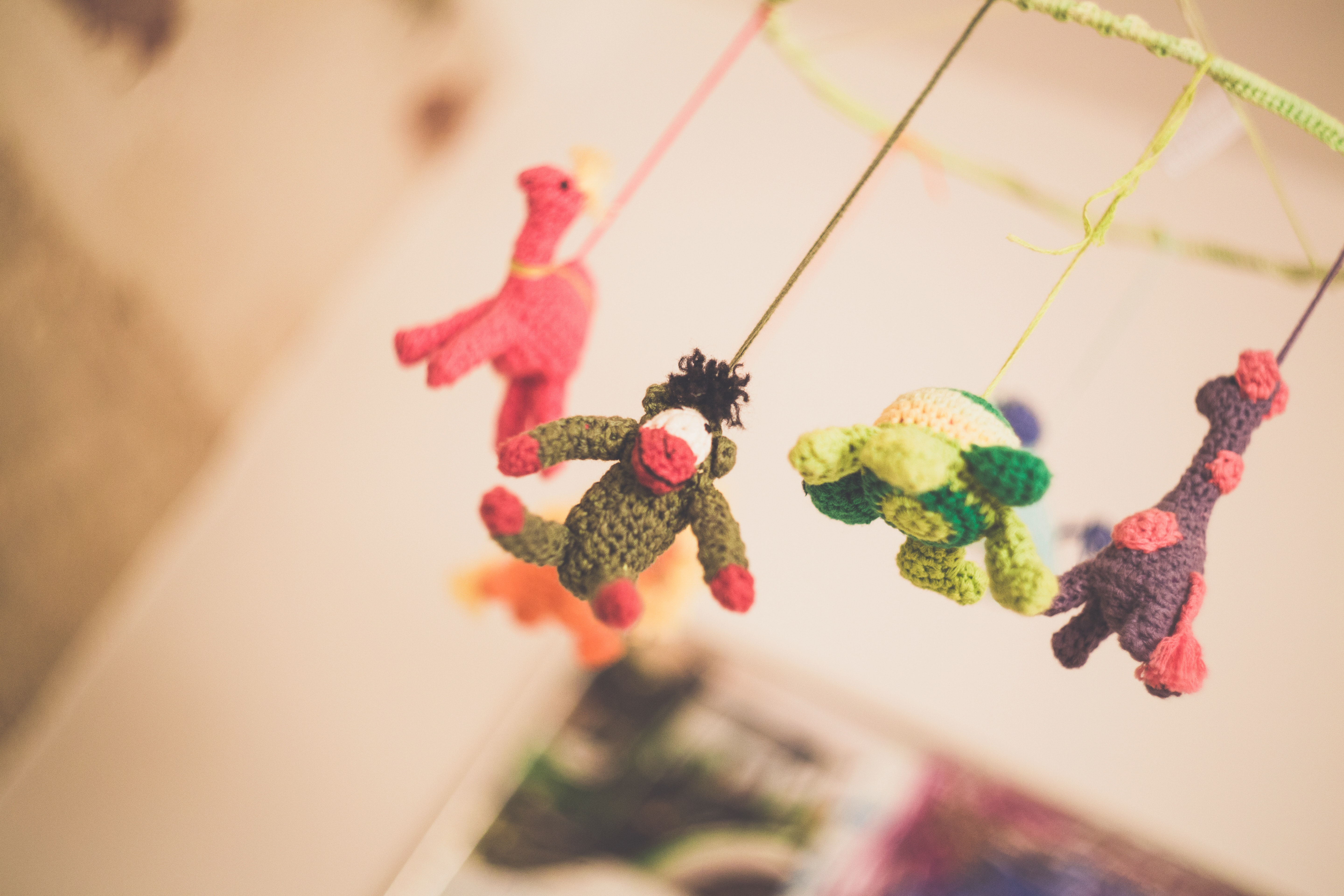 Baby mobile with colorful animals