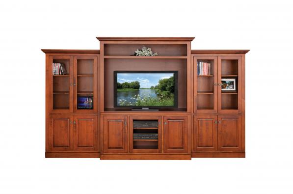 Rich Caramel Finish Classic Bedroom Set W Options: Traditional Wall Unit