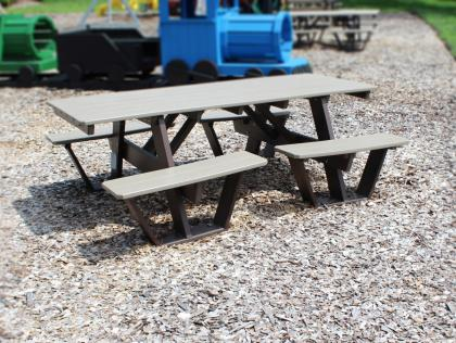 Picnic Table with Attached Split Benches